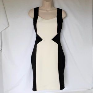 Guess Cocktail Dress Blk Ivory Stretchy Bk Straps